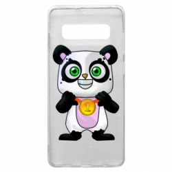 Чехол для Samsung S10+ Panda with a medal on his chest
