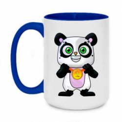Кружка двоколірна 420ml Panda with a medal on his chest