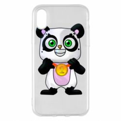 Чехол для iPhone X/Xs Panda with a medal on his chest
