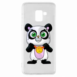 Чехол для Samsung A8+ 2018 Panda with a medal on his chest