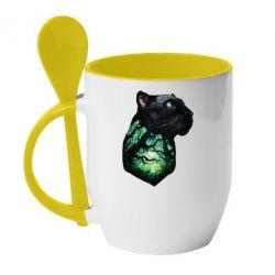 Кружка з керамічною ложкою Panther and Forest