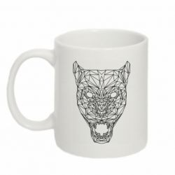 Кружка 320ml Panther growls low poly