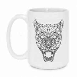 Кружка 420ml Panther growls low poly