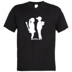 Мужская футболка  с V-образным вырезом Пара Bancsy - FatLine