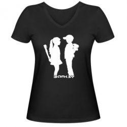 Женская футболка с V-образным вырезом Пара Bancsy - FatLine