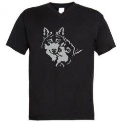 Мужская футболка  с V-образным вырезом Пара *для темной основы (инверсия)