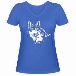 Женская футболка с V-образным вырезом Пара *для темной основы (инверсия)