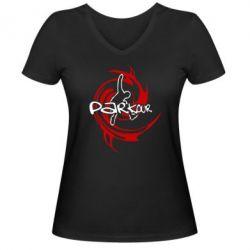 Женская футболка с V-образным вырезом Parkour Logo - FatLine