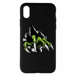 Чохол для iPhone X/Xs Paw with claws tearing fabric