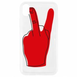 Чехол для iPhone XR Peace and middle finger