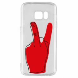 Чехол для Samsung S7 Peace and middle finger