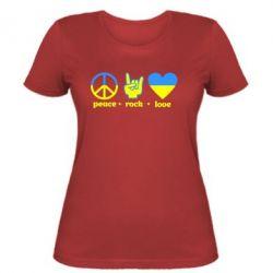 Женская футболка Peace, Rock, Love - FatLine