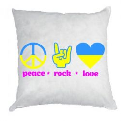 Подушка Peace, Rock, Love