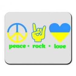 Коврик для мыши Peace, Rock, Love - FatLine
