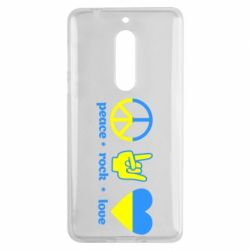 Чехол для Nokia 5 Peace, Rock, Love - FatLine