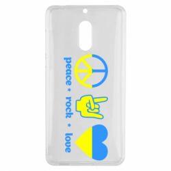 Чехол для Nokia 6 Peace, Rock, Love - FatLine