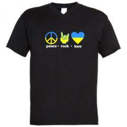 Мужская футболка  с V-образным вырезом Peace, Rock, Love - FatLine