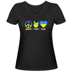 Женская футболка с V-образным вырезом Peace, Rock, Love - FatLine