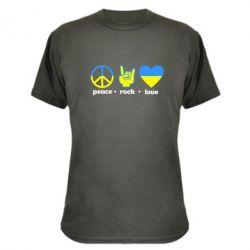 Камуфляжная футболка Peace, Rock, Love - FatLine