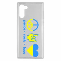 Чехол для Samsung Note 10 Peace, Rock, Love