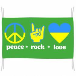 Флаг Peace, Rock, Love