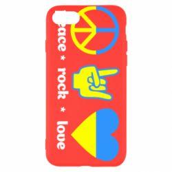 Чехол для iPhone 7 Peace, Rock, Love - FatLine