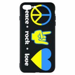 Чехол для iPhone 7 Plus Peace, Rock, Love - FatLine