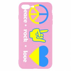 Чехол для iPhone 8 Plus Peace, Rock, Love - FatLine