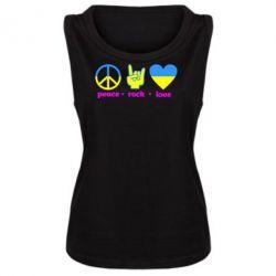 Женская майка Peace, Rock, Love - FatLine