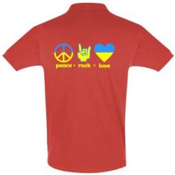 Футболка Поло Peace, Rock, Love - FatLine