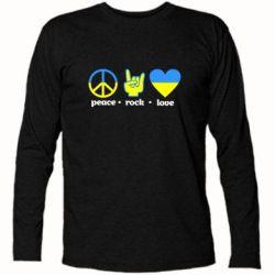 Футболка с длинным рукавом Peace, Rock, Love - FatLine