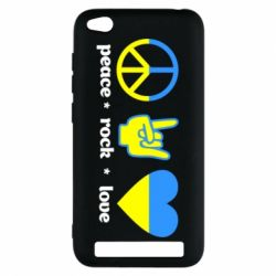 Чехол для Xiaomi Redmi 5a Peace, Rock, Love - FatLine
