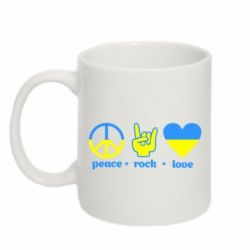 Кружка 320ml Peace, Rock, Love