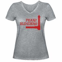 Жіноча футболка з V-подібним вирізом Peaky Blinders and weapon