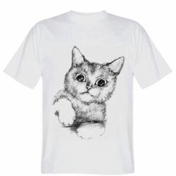 Мужская футболка Pencil drawing of a kitten