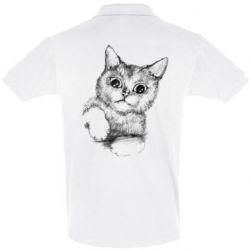 Мужская футболка поло Pencil drawing of a kitten