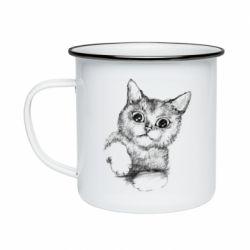 Кружка эмалированная Pencil drawing of a kitten