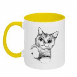 Кружка двухцветная 320ml Pencil drawing of a kitten