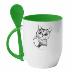 Кружка с керамической ложкой Pencil drawing of a kitten