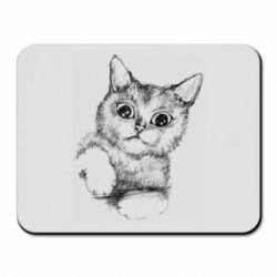 Коврик для мыши Pencil drawing of a kitten