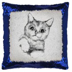 Подушка-хамелеон Pencil drawing of a kitten
