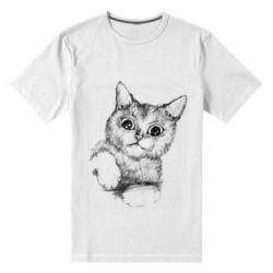 Мужская стрейчевая футболка Pencil drawing of a kitten