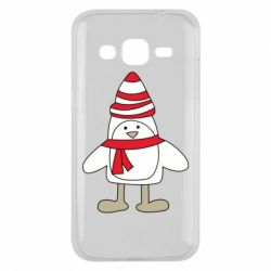 Чехол для Samsung J2 2015 Penguin in the hat and scarf