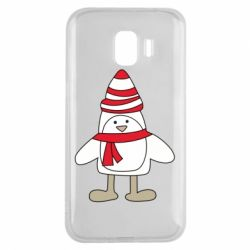 Чехол для Samsung J2 2018 Penguin in the hat and scarf