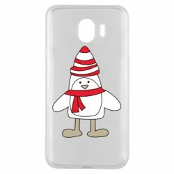 Чехол для Samsung J4 Penguin in the hat and scarf
