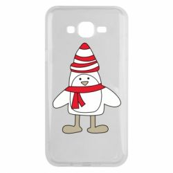 Чехол для Samsung J7 2015 Penguin in the hat and scarf