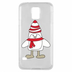 Чехол для Samsung S5 Penguin in the hat and scarf
