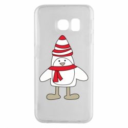 Чехол для Samsung S6 EDGE Penguin in the hat and scarf