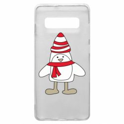Чехол для Samsung S10+ Penguin in the hat and scarf