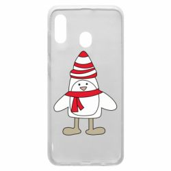 Чехол для Samsung A20 Penguin in the hat and scarf